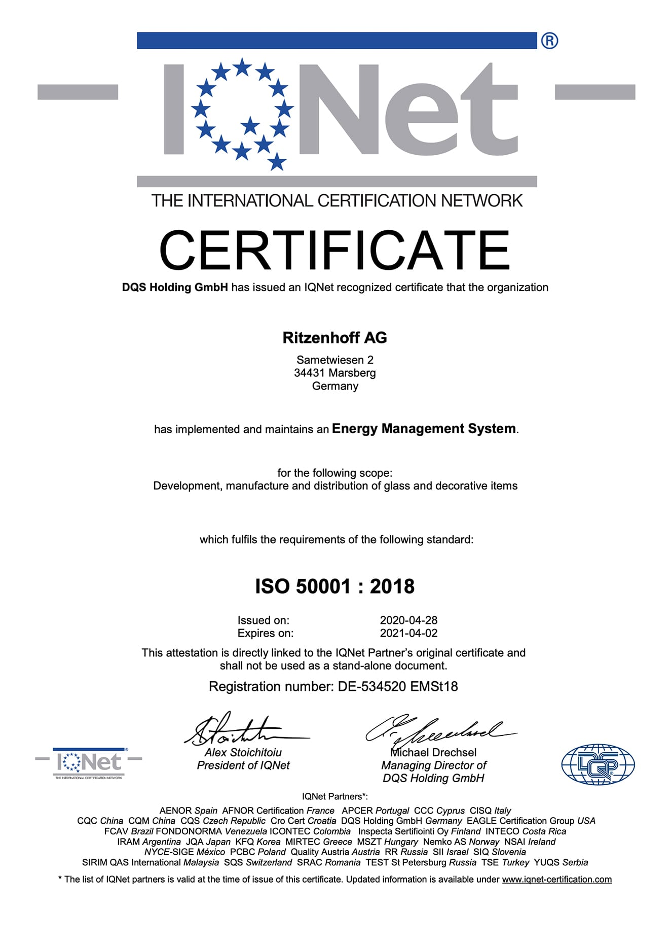 IQNet ISO 50001 : 2018 (2020)